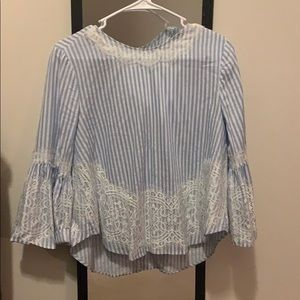 Zara blue strip top with lace